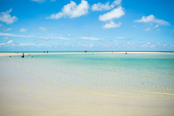 Ilha de Itamaraca, Brazil - Circa January 2019: Shallow turquoise waters at Sao Paulo beach on Itamaraca Island