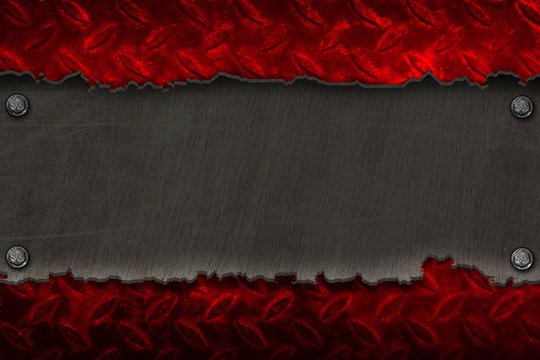 black metal banner on red diamond plate.