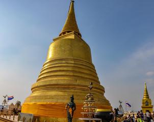 Golden stupa in the Golden Mount in Bangkok, Thailand