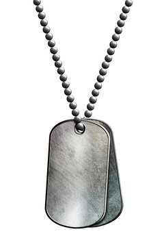 chrome metal tag and necklace.