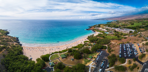 Fototapete - Aerial panorama of the Hapuna Beach State Park. West coast of the Big Island, Hawaii