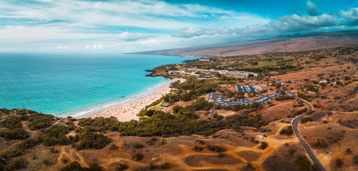 Wall Mural - Aerial panorama of the Hapuna Beach State Park. West coast of the Big Island, Hawaii