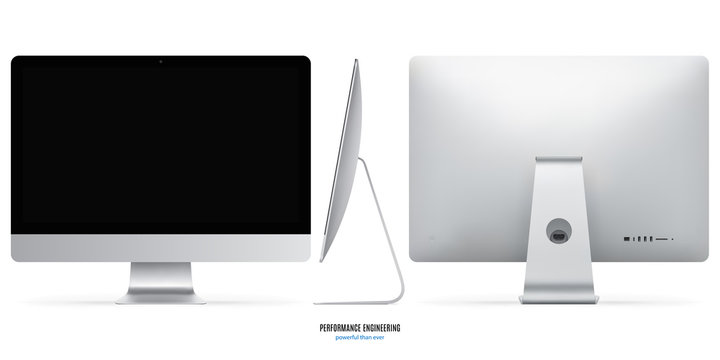 computer monitor mockup in silver color with black screen view front, back and side on white background. stock vector illustration eps10