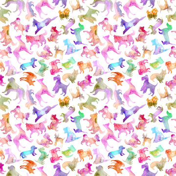 Seamless pattern of a dog silhouette.Watercolor hand drawn illustration.White background.