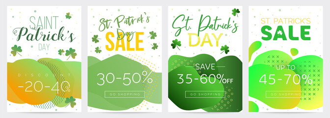 Pack of four Saint Patricks Day discount vouchers, templates with green gradient backgrounds