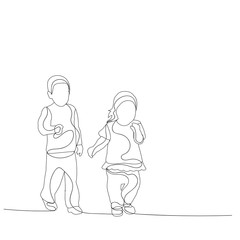 vector, isolated, sketch, simple lines child, boy and girl