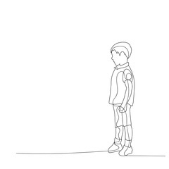 sketch, simple lines child, boy looking