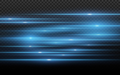 Stylish blue light effect. Abstract laser beams of light. Chaotic neon rays of light for your project. Isolated on transparent dark background. Vector illustration