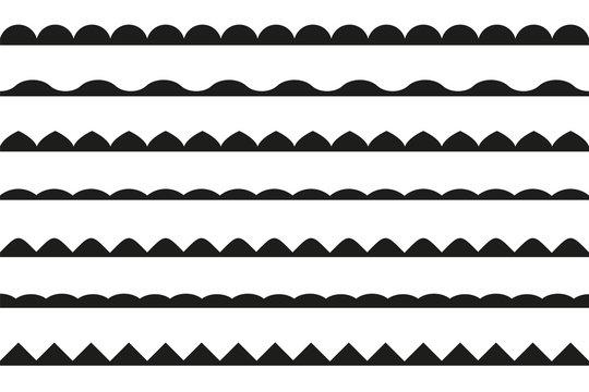 set of seamless borders. Vector design elements.