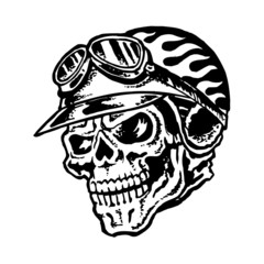 Skull biker helmet with flames and glasses, motorcycle vintage graphic design, logo, mascot, emblem, black and white icon