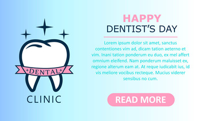 World Dentist Day. Vector illustration of logo tooth.Stomatology banner
