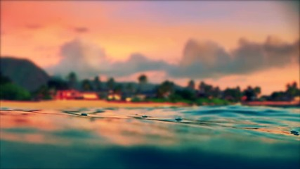 Wall Mural - Calm tropical sea with waves and ripples during sunset