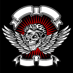 Skull biker helmet emblem, flames, wings and banners, motorcycle vintage graphic design, logo on a black background
