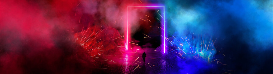 Space futuristic landscape. Fiery meteorites, sparks, smoke, light arches. Dark background with light element in the center. Silhouette of a man, a reflection of neon lights.  3d rendering.