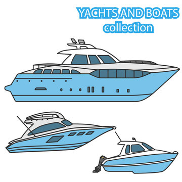 Set of yachts and motor boats. Vector colored illustration