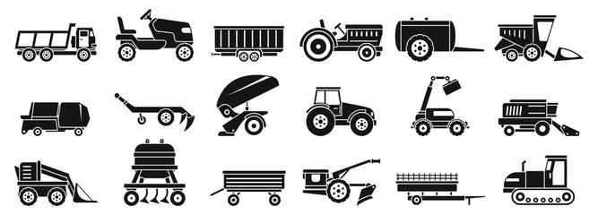 Farm agricultural machines icons set. Simple set of farm agricultural machines vector icons for web design on white background Wall mural