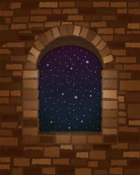 Night sky in arched stone window in romanesque style wallpaper, vector illustration