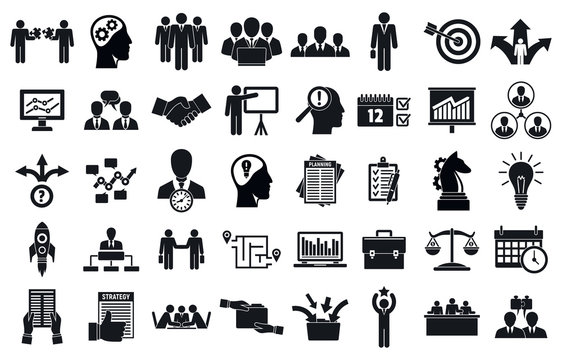 Business planning meeting system icons set. Simple set of business planning meeting system vector icons for web design on white background