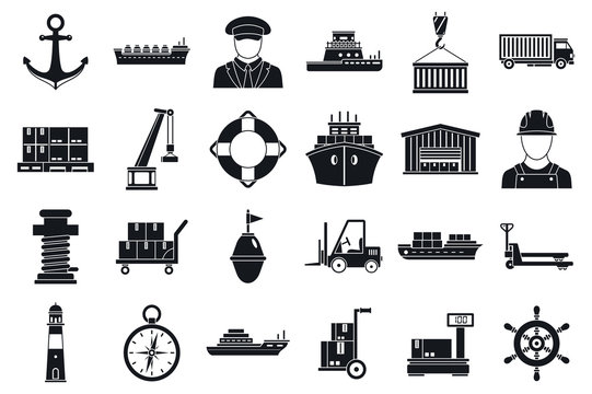 Marine port transport icons set. Simple set of marine port transport vector icons for web design on white background