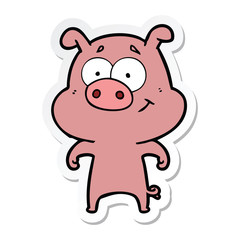 sticker of a happy cartoon pig