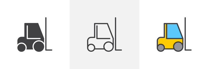Forklift truck icon. Line, glyph and filled outline colorful version, construction loader truck outline and filled vector sign. Symbol, logo illustration. Different style icons set. Pixel perfect