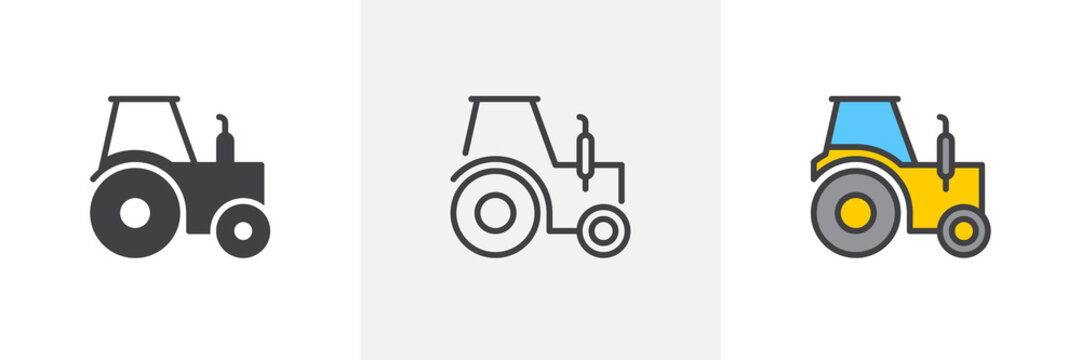 Tractor truck icon. Line, glyph and filled outline colorful version, Farm tractor outline and filled vector sign. Symbol, logo illustration. Different style icons set. Pixel perfect vector graphics