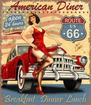 American Diner vintage poster with retro car and pin-up girl.