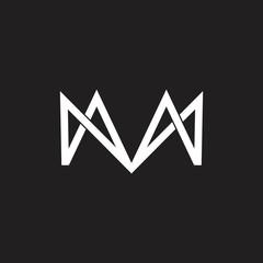 letter m linked geometric arrow logo vector