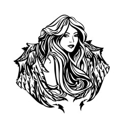 beautiful angel woman with long gorgeous hair and wings - art nouveau style celestial girl black and white vector portrait