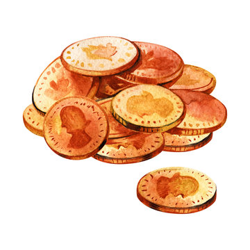 Bunch of gold coins. Watercolor illustration. The way of luck.