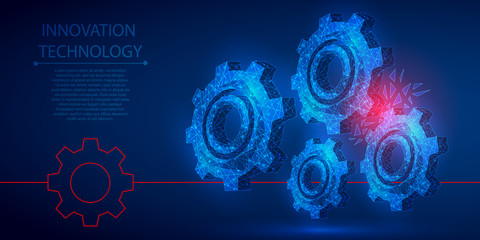 Gear polygonal mechanism abstract background. The isolated concept of innovative technology, industrial technologies, business consists of low poly wireframe, geometry, lines, dots, polygons, shapes