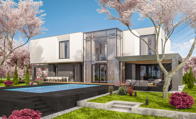 3d rendering of modern cozy house in the garden with garage. Fresh spring day with a blooming trees. For sale or rent with flowers of sakura on background.