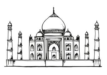Taj Mahal, India hand drawn illustration Fototapete