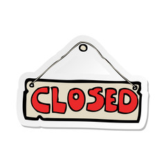 sticker of a cartoon closed shop sign