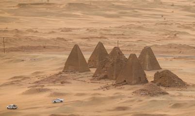 Top view of the pyramids of Karima near Nuri in Sudan