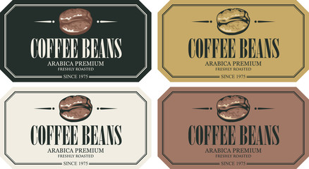 Vector set of labels for freshly roasted coffee beans. Coffee labels with coffee bean in a frame in retro style with inscription. Arabica premium.