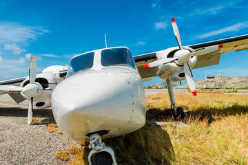 Crashed, destroyed and abandoned airplane