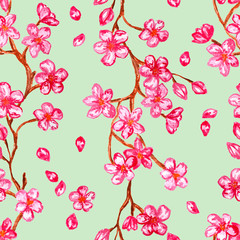 Pink flowers blossom, watercolor painting - seamless pattern on light green background