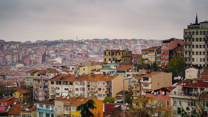 Aerial panorama view to Istanbul, Turkey. Dramatic sky over the city