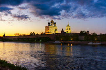 Trinity cathedral Pskov. Pskov Kremlin Russia. Ancient fortress on the river bank.