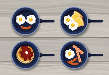 set fried eggs with pancakes and sausages