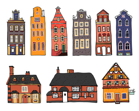 Vintage stone Europe houses. Set of old style town and village building facades. Hand drawn outline vector sketch illustration color on white background
