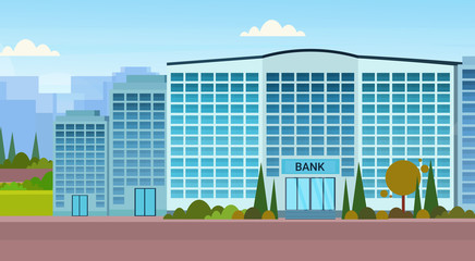 modern bank building facade with glass wall front view of financial institution entrance office exterior cityscape background horizontal