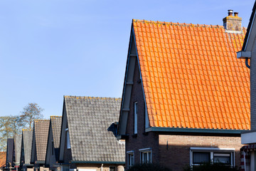 Red and grey tiled roofs in a row