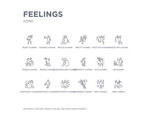 simple set of feelings vector line icons. contains such icons as mad human, meh human, miserable human, motivated nervous nostalgic ok old optimistic and more. editable pixel perfect.