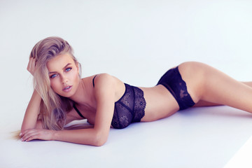 Beautiful young blonde model in underwear