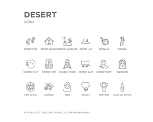 simple set of desert vector line icons. contains such icons as alcohol bottle, amphora, amulet, arab, carriage, cart wheel, cleopatra, cowboy boot, cowboy cart and more. editable pixel perfect.