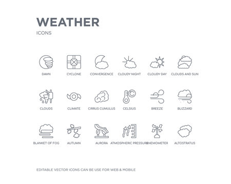 simple set of weather vector line icons. contains such icons as altostratus, anemometer, atmospheric pressure, aurora, autumn, blanket of fog, blizzard, breeze, celsius and more. editable pixel