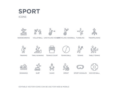 simple set of sport vector line icons. contains such icons as soccer ball, sport goggles, sprint, sumo, surf, swimming, table tennis, tennis, tennis ball and more. editable pixel perfect.