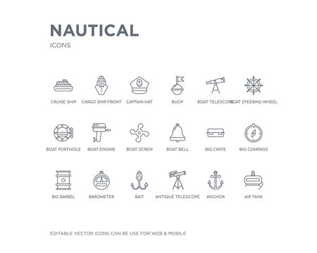 simple set of nautical vector line icons. contains such icons as air tank, anchor, antique telescope, bait, barometer, big barrel, big compass, big crate, boat bell and more. editable pixel perfect.